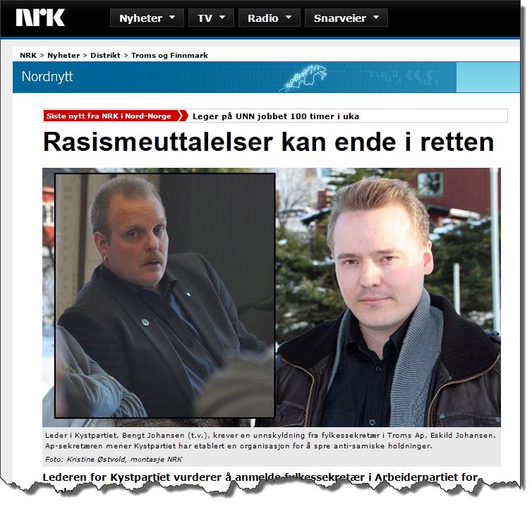 Rasismeskvetting av fylkessekretær Eskild Johansen